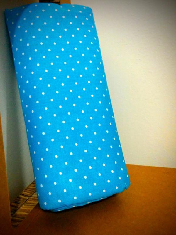Lenzuolo sotto cotone con angoli azzurro pois bianchi linteum